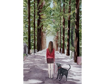 ORIGINAL - Forward - Girl with Dog in Forest  -  pen ink watercolor - on Sale