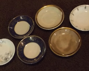 Unmatched set of 6 vintage butter pats or dishes for children or faeries or woodland creatures to use for tea parties, faerie gardens, etc.