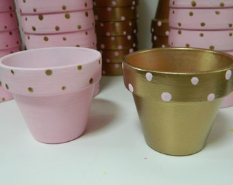 Pink and Gold Celebration - Baby shower, Wedding, party, anniversary - Hand painted polka dot pots - 2 1/2 inch terracotta pots