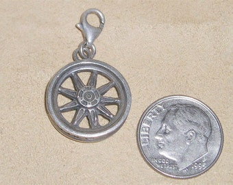 Vintage Sterling Silver Harley Davidson Motorcycle Rim Charm Or Pendant 1980's Signed Jewelry 2072