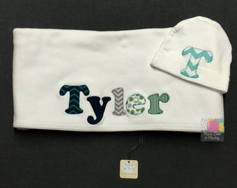 Personalized Baby Blanket and Hat Set, Personalized Baby Boy Blanket, Personalized Baby Gift, Baby Shower Gift, Monogrammed Baby