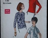 35%FallSale Vogue 7288 1960s 60s Mod Librarian or Secretary Blouse Vintage Sewing Pattern Size 12 Bust 34