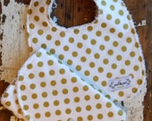 Baby Bib and Burp Set - Baby Girl - Metallic Gold Polka Dot