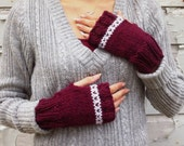 Fair Isle Wool Fingerless Gloves / Hand Knit / Cranberry Red