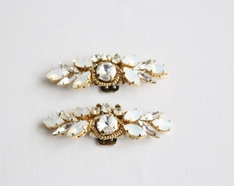 Bridal Crystal Gold Shoe Clip- Swarovski  Rhinestones Shoe Clips  - Wedding  Shoe Accessory
