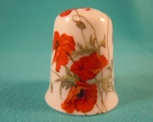 Thimble Bone China with Poppies Flowers