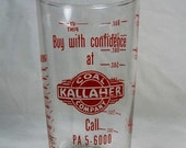 FALL SALE Vintage Advertising Measuring Glass 8 oz. Tumbler, Kallaher Coal Company, RI Red Pyro on Clear Glass