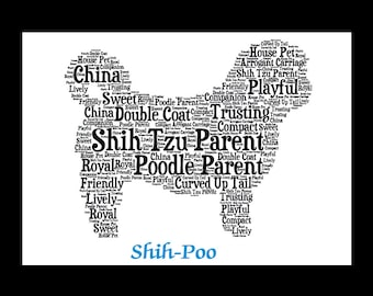 Shih-Poo | Shih-Poo Pet Portrait | Custom Shih-Poo Portrait | Personalize Shih-Poo Illustration | Shih-Poo Art Print | Shih-Poo Pet Memorial