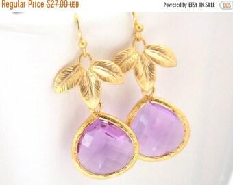 SALE Lavender Earrings, Glass Earrings, Leaf, Lilac, Violet, Purple, Gold, Bridesmaid Earrings, Bridal Earrings Jewelry, Bridesmaid Gifts