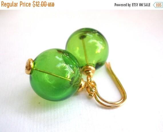 SALE Green Earrings, Apple Green Earrings, Hand Blown Glass Earrings, Hollow Lampwork, Gold Green Earrings, Gold Earrings, Bridesmaid Gifts