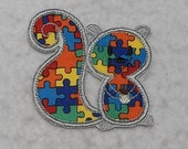 Squirrel Autism Awareness Puzzle Piece (small) Tutu & Shirt Supplies - fabric iron on Applique Patch 7445