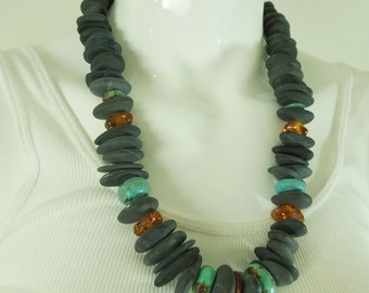 Couture River Stone Chinese Turquoise Amber Leather Necklace