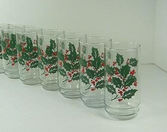 Vintage HOLLY TUMBLERS Set/6 Holiday Christmas BARWARE Water Indiana Glass