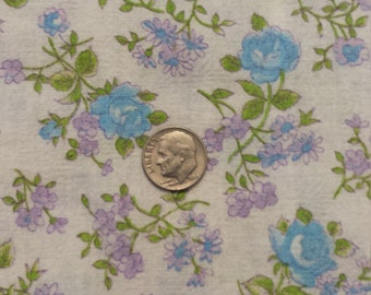 Beautiful Vintage Blue Rose Floral Duvet Fabric Lilac Green Supplies
