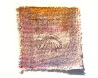Original wearable art patch acrylic paint on 100% cotton canvas