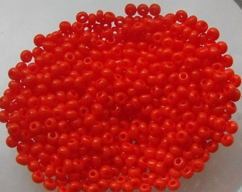 11/0 Opaque Orange Seed Beads, 2.1mm, Czech, Preciosa, 20 grams (1800 - 2000 Beads) CLEARANCE SALE!!