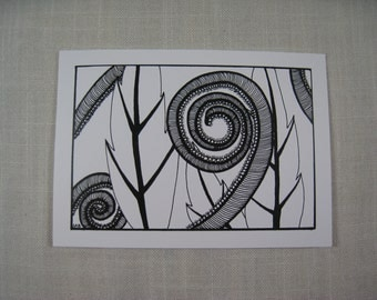 Blank Art Card Pen and Ink Leaf Series #4