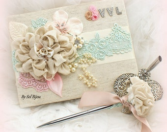 Guest Book, Baby Shower, Mint, Blush, Champagne, Monogrammed, Christening, Baby Girl, Vintage Style, Signature Book, Signing Pen, Brooch