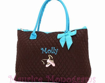 Personalized Ballet Large Tote Brown Bag with Aqua Trim Quilted Dance Bag Monogrammed FREE