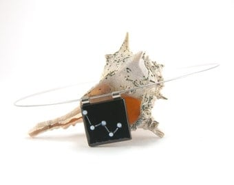 Astronomy necklace, Cassiopeia constellation fused glass pendant, black and white, Space Oddity, stargazer astronomical gift, astrology