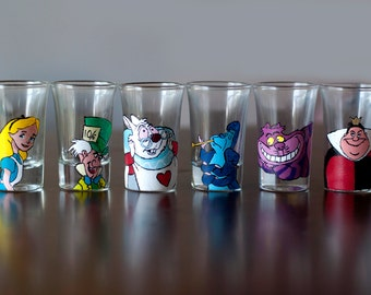 Alice in Wonderland Shot Glasses Original Disney Cartoon