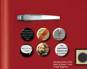 """Stanley MILGRAM Psychologist obedience, conformity, compliance research SET of 6 Hand Pressed 1"""" Fridge Magnets"""