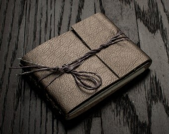 Pocket Leather Journal or Leather Sketchbook, Gift For Her, Pocket Sized, Pewter Silver Handbound Coptic Stitch Notebook