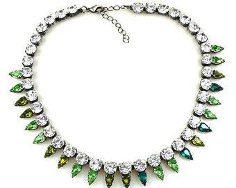 Luxury Swarovski Navette Rhinestone Necklace pastel tones - GREEN ENVY