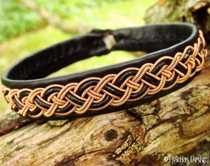 NIFLHEIM Sami Copper Braid Black Leather Viking Bracelet Cuff with Reindeer Antler button - Handcrafted Nordic Spirit and Elegance