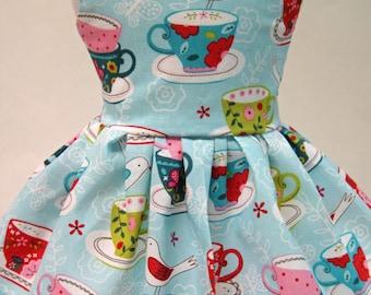 Bird on a Tea Cup Sleeveless Dress for your American Girl Doll B