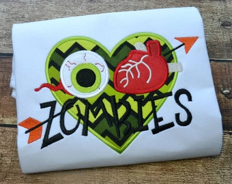 I Heart Zombies - Appliqued and Personalized - Halloween Shirt