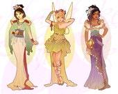 Full Set Princesses Mucha Style CROSS STITCH PATTERNS Mulan, Tinkerbell, Esmeralda, Original Art by Hannah Alexander