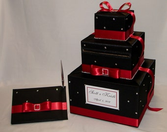Black and Red Wedding Card Box with matching Guest Book and Pen-any colors