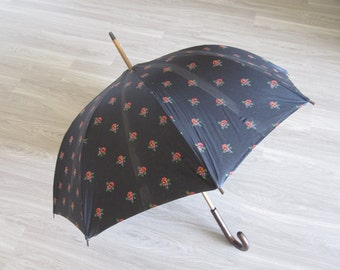 Black and Floral Umbrella Made in France