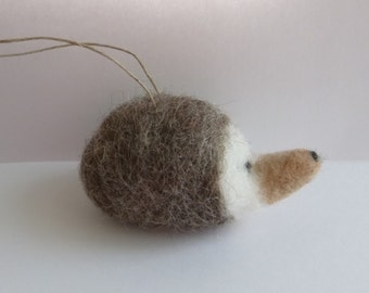 hedgehog ornament -  needle felted wool ornament -  woodland animal - Christmas tree ornament - stocking stuffer - in stock & ready to ship