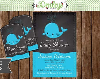 FREE TAGS INCLUDED Whale Baby Shower Invitation (WH03)