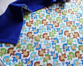 Urban Zoologie Blue Monkey Print /Soft Minky fleece Baby Blanket ,Ready to Ship