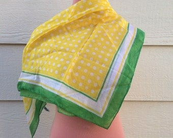 Yellow polka dot with green trim 70s neck scarf size medium