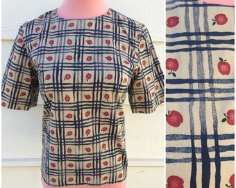 SALE - Taupe with navy blue plaid and apple pattern boxy 80s blouse size large