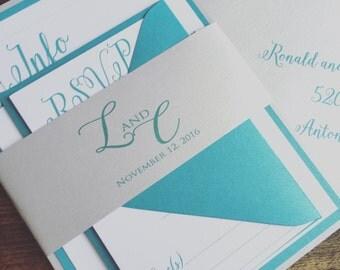 Wedding Invitations - Silver Wedding Invitation - Teal and Gold Wedding Invitations - Wedding Invitation Suite