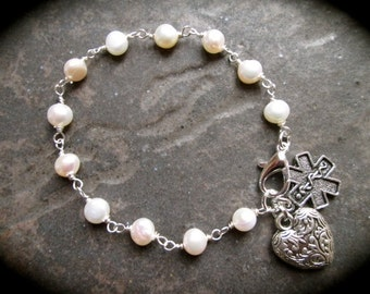 Diabetic Medical Alert Bracelet with Rosary Style Pearl chain and heart charm and clasp Diabetes Awareness Bracelet