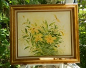 Reserved for Jules Vintage Oil Painting Yellow Flowers Signed Framed Art Framed Floral Painting