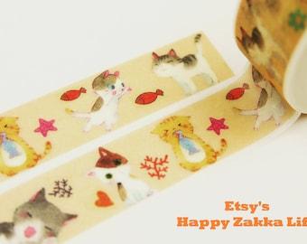 Kitten & Fish - Japanese Washi Masking Tape - 11 yards