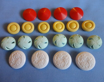 Vintage Buttons 1940s & 50s - Lot of 20, all plastic shank, six light green, six yellow, four red, 4 white, sewing and jewelry craft