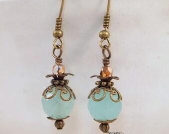 Victorian Style Earrings,  Green Bead Earrings,  Boho Chic Earrings, Vintage Style Pierced or Clip-on Earrings, Handmade Earrings.