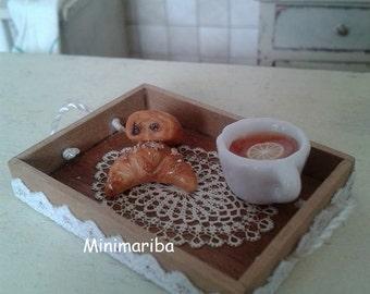 Miniature dollhouse French breakfast tray