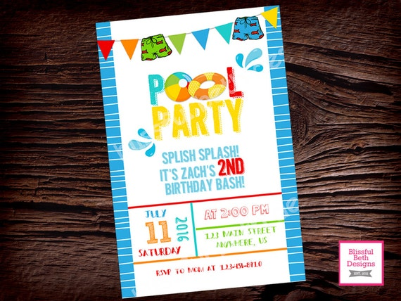 POOL PARTY INVITATION  Birthday Pool Party Invitation, Personalized Pool Party, Pool Party, Dive Right In, Pool Party Invite, Pool
