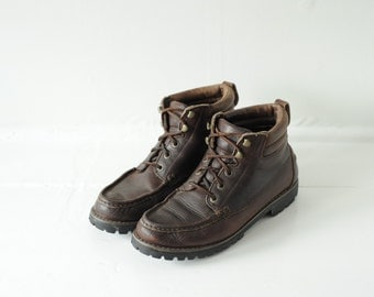 Vintage Eddie Bauer Brown Leather Lace Up Ankle Boots mens 8