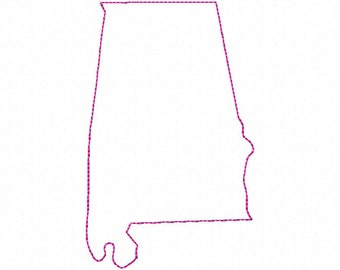 Raggy Applique State of Alabama Machine Embroidery Design - 4 Sizes