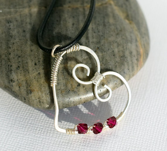 Wire Heart Necklace, Red Sterling Heart Necklace, Black Leather Necklace, Wire Wrapped Heart, Swarovski Necklace, Red Heart Necklace